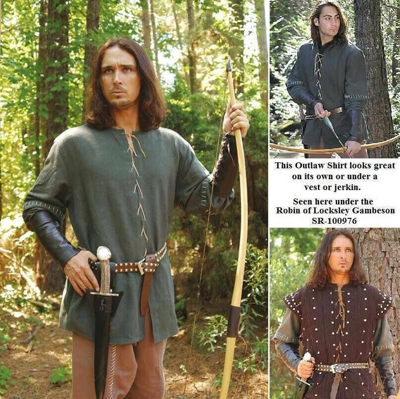 Robin Hood of Loxley Outlaw Shirt, Ideal for Re-enactment Stage Costume & LARP