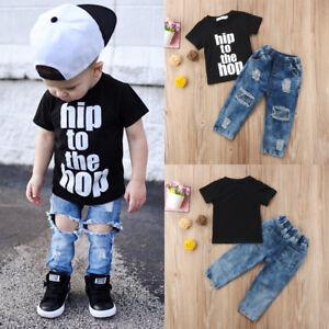 7ab09d32e7a UK Newborn Toddler Kid Baby Boy Jeans Clothes T shirt Top Denim ...