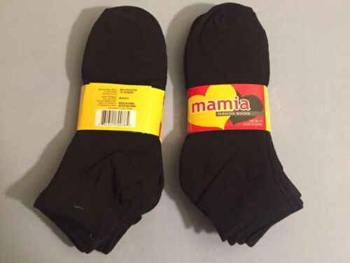 ANKLE CUT 12 Pairs One Dozen Mamia Socks RN 65914 Size 6-8 Black New