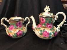 Antique Stunning Elegant Nippon? Hand Painted Gold Moriage Tea Pot & Sugar Bowl