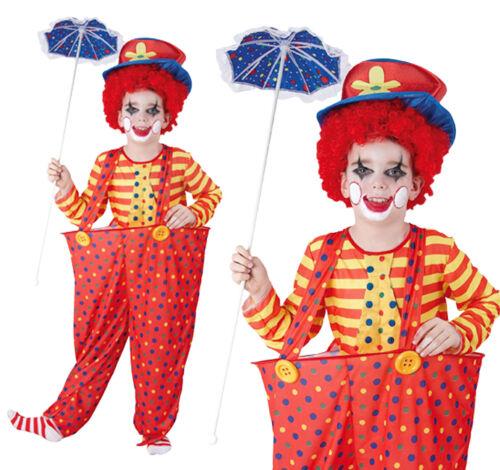 Childrens Hoop Clown Fancy Dress Costume Circus Halloween Kids Outfit 3-13 Yrs