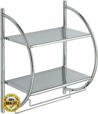 Organize It All Wall Mount 2 Tier Bathroom Shelf W Towel Bars Chrome 14982175304 Ebay