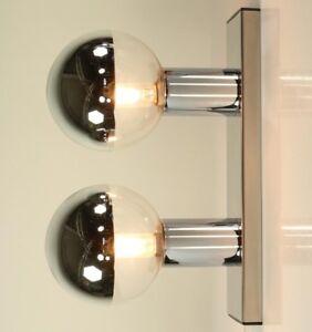 Staff-Wand-Decken-Leuchte-Chrom-Glas-Motoko-Ishii-Kollektion-Lampe-70er