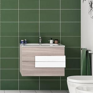 Mobile per bagno moderno 80 cm sospeso con cassettoni softclose e ...