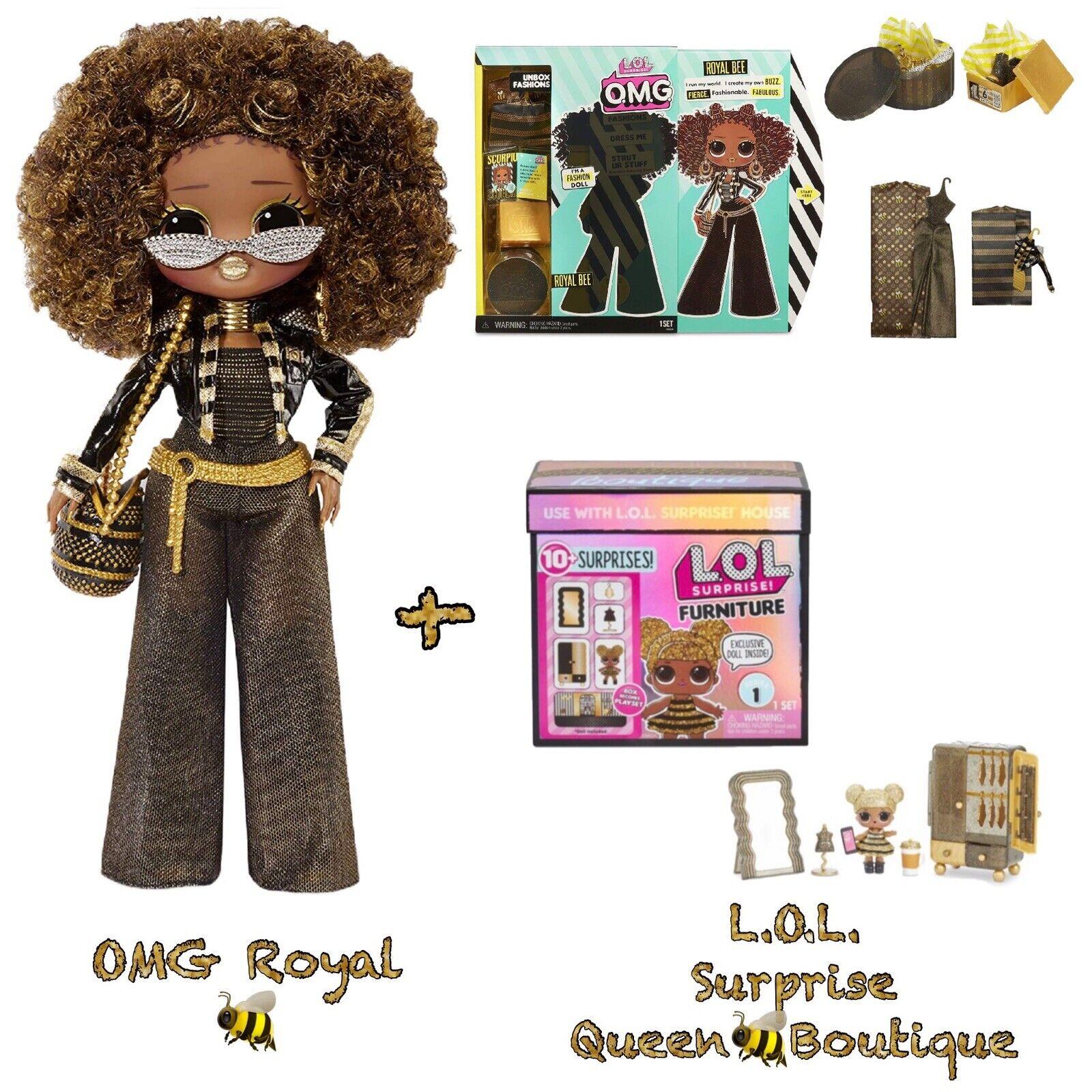 Lol Überraschung O. m. G. Royal Biene  Puppe + Möbel Boutique + Queen