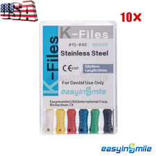 10x Dental Endo Root Canal K Files Stainless Steel Hand Use Assorted 25mm 15 40