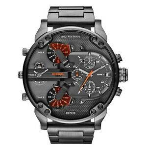 BRAND-NEW-DIESEL-STAINLESS-STEEL-GUNMETAL-CHRONOGRAPH-MEN-WATCH-DZ7315