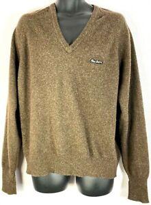 Peter-Storm-Men-039-s-XL-Brown-100-Pure-Virgin-Wool-Sweater-V-Neck-Vintage-Used