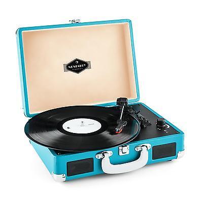 Vintage Hifi Turntable Record Vinyl Player LP USB Recording Portable Case Blue