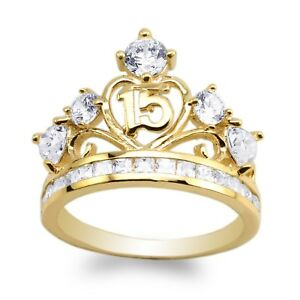 JamesJenny-Yellow-Gold-Plated-15-Anos-Quinceanera-Beautiful-Ring-Size-5-10