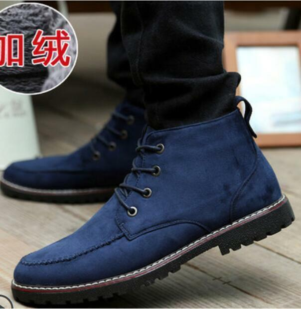 Outdoor Warm Mens Lace Up Thicken fur lined Casual Combat Snow Ankle Boots