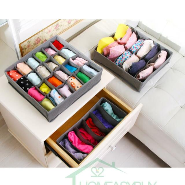 3 PCS Underwear Bra Socks Ties Divider Closet Container Storage Box Organizer