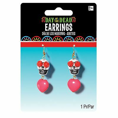 Adult Ladies Day of the Dead Sugar Skull Hanging Earrings Jewellery Accessory