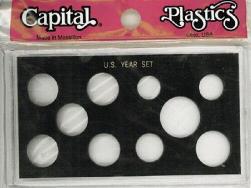 1 Capital Holder 4X7 US Year Set Black Plastic Display Case Small $ /& 5 Quarters