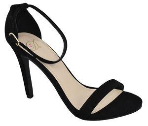 12fea3aa91 Delicious Women Ankle Strap High Heel Open Toe Black Suede Dress ...