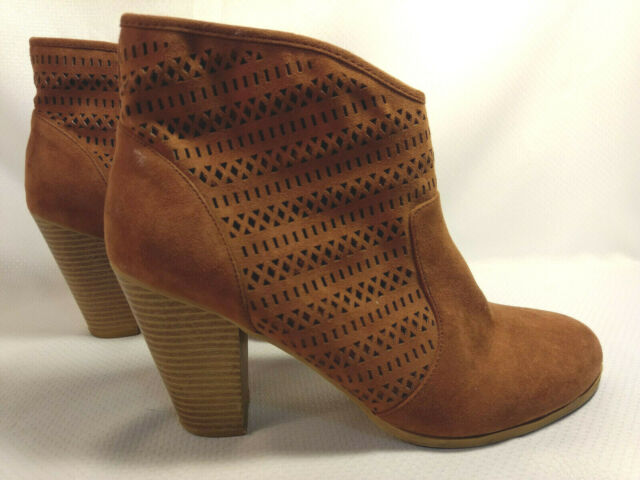 Womens Zip Ankle Boots Size 12 Cutwork Suede Tan Brown Stacked Heel Nine West