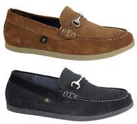 Farah Mens Slip On Durans Suede Shoes Brown Black FAR0025