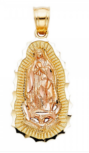 14K Yellow 2 Tone Gold Virgin Guadalupe Charm Pendant