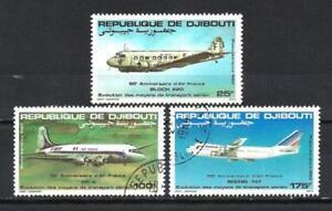 Avions-Djibouti-46-serie-complete-de-3-timbres-obliteres