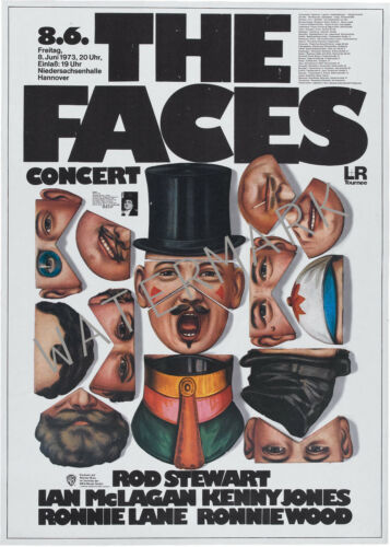 The Faces Rod Stewart German 1973 concert poster Ronnie Wood
