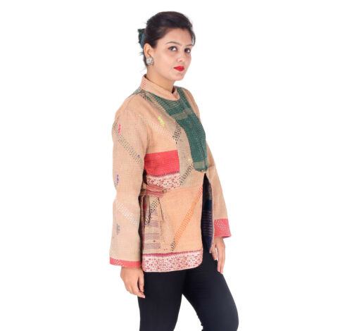 Frakke Women Long Blazer Jacket Indian Størrelse Quilted Håndlavet Kantha M qwfXIz