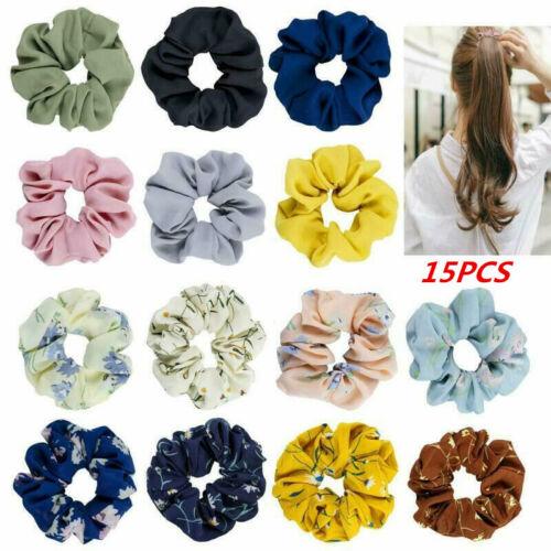 Pack of 15 Women Flower Chiffon Hair Bow Scrunchies Hair Big Hair Ties Ponytail