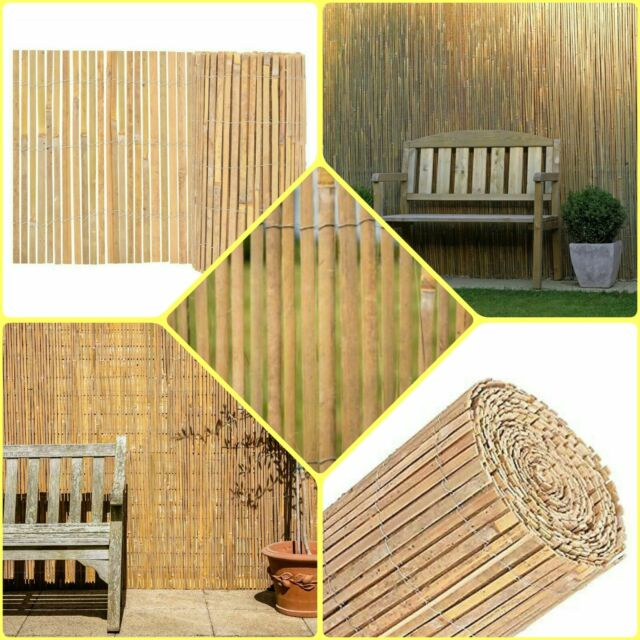 Natural 4 M Garden Bamboo Slat Fence Privacy Screen Roll Outdoor Panel Screening