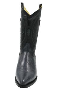 Men Genuine Cow Hide Leather Lizard Print Grey color J Toe Cowboy Boots