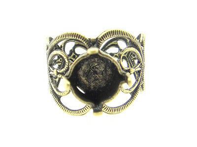 Filigree Adjustable Ring Empty 8.5mm 39ss Setting 3 Pieces - Choose Finish