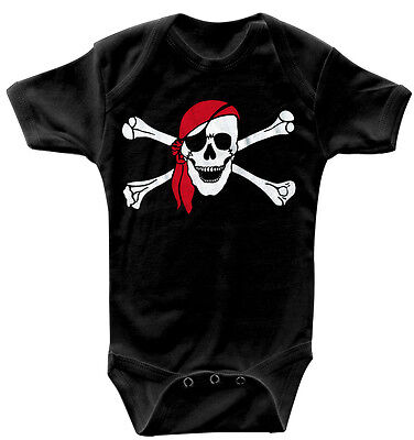 Baby Body Pirat Totenkopf hochwertige Qualitäts Bodys 0-24 Monate 08367