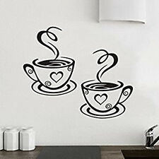 2 Tazze Di Caffè Tè Per Cucina Adesivo Da Parete In Decalcomania Arte Ristorante