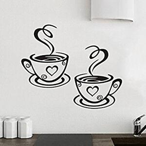 2 Tazze Di Caffè Tè Per Cucina Adesivo Da Parete In Decalcomania ...
