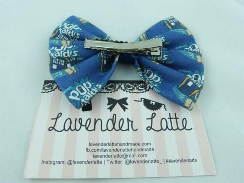 HANDMADE HAIR BOW MADE FROM DOCTOR WHO POP TARDIS FABRIC POLICE BOX