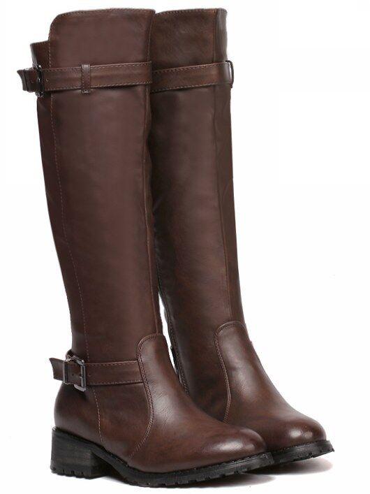 stivali stivaletti bassi scarpe anfibi 4 cm marrone eleganti simil pelle 9362