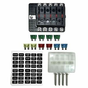 image is loading 10-way-12v-blade-fuse-box-distribution-block-