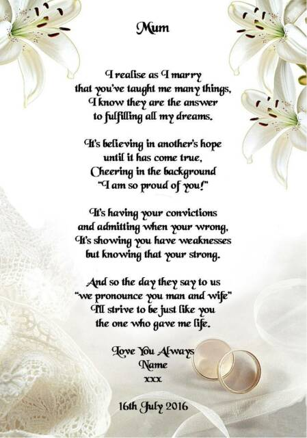 Wedding Day Thank You Gift Mother Of The Groom From Bride Poem A5