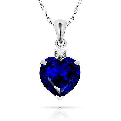 3.07Ct White Sapphire /& Heart Aquamarine Charm Pendant14K Yellow Gold w//Chain