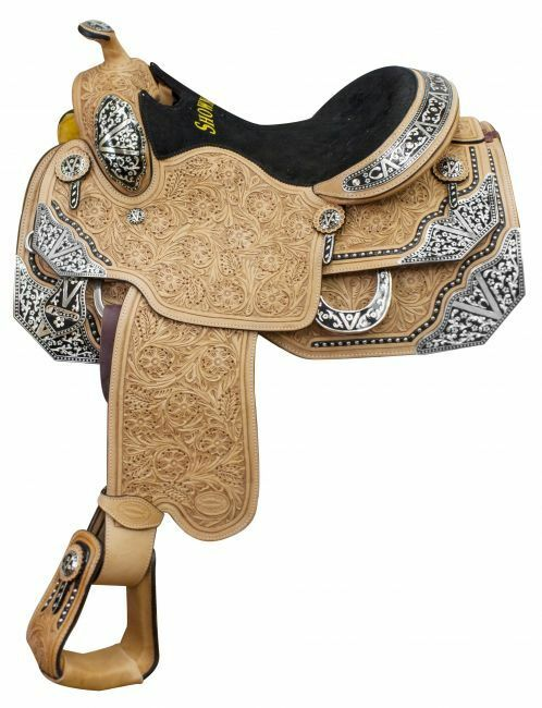 16 Showman ® argentoina cow leather show saddle with floral tooling