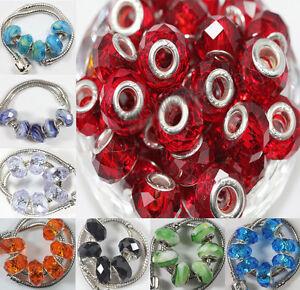 New-5pcs-Lampwork-Glass-Charm-Murano-Big-Hole-Bead-Fit-European-Bracelet-14x10mm