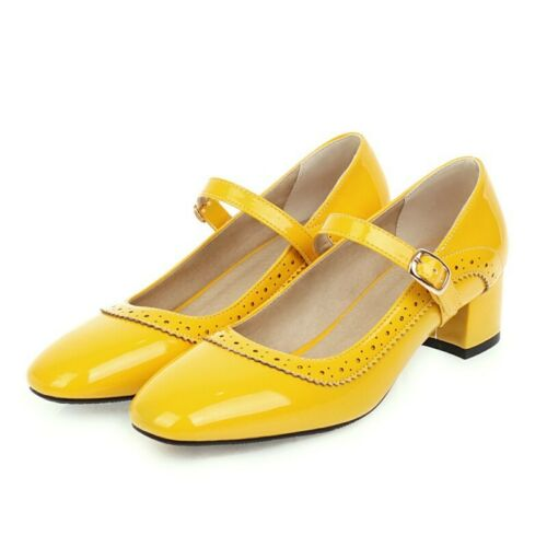 Details about  /Women Ankle Strap Solid Color Casual Mary Janes Square Toe Princess Lolita Shoes