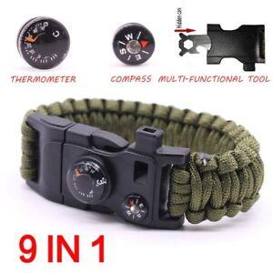 76-Bracelet-de-Survie-Paracorde-Sifflet-Boucle-d-039-Urgence-Flint-Allume-Corde-Kit