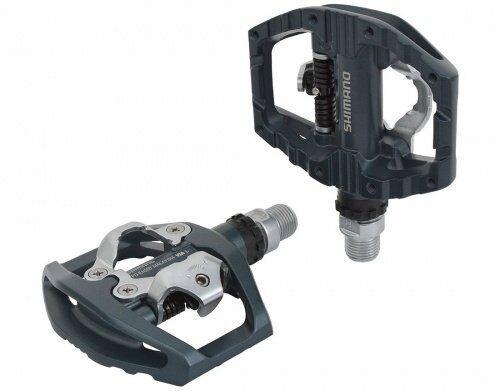 Mtb dual pedals EH500 SPD  flat grigio SHIMANO mtb bike pedals