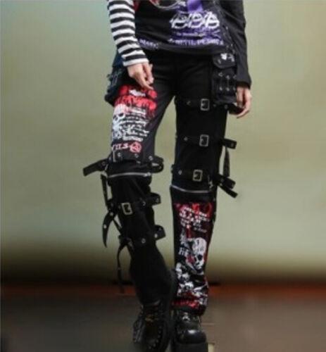 Fashion Rockabily Hop Gothic Bukser Pants Hip Womens Herre Punk Buckles Z7Faqwx