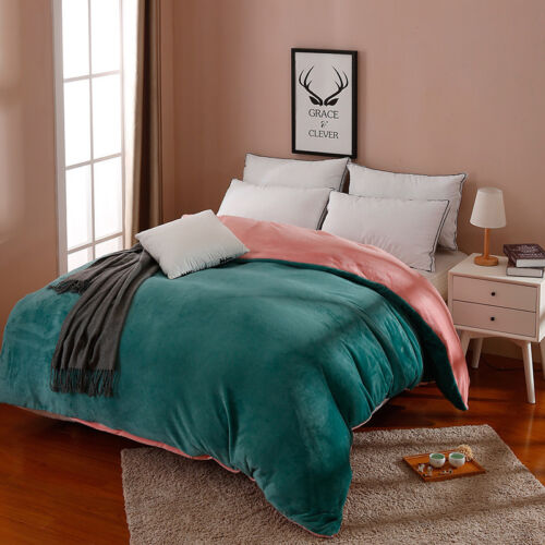 Solid Micro Flannel Duvet Cover Only Queen Full Twin Winter Warm Quilt Cover New