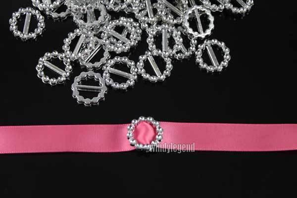 100 X Acrylic Silver Round Buckle Ribbon Slider Wedding Invitation Embellishment