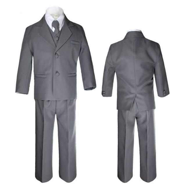 Baby Infant Toddler Kid Teen Formal Party Dark Gray Tuxedo 5pc Set Boy Suit S-20