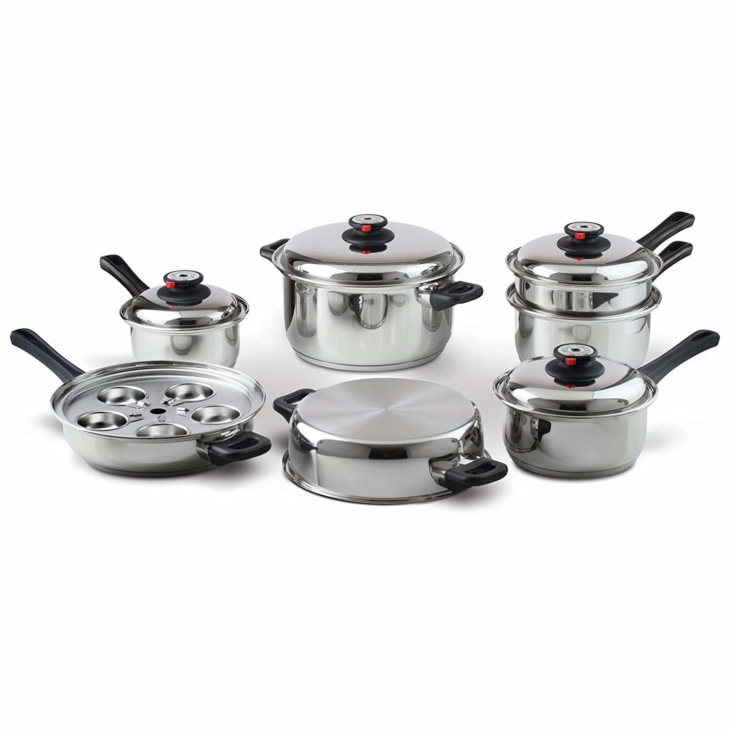 Cookware Set Surgical Stainless Steel Waterless 17 Piece Kitchen Gift New