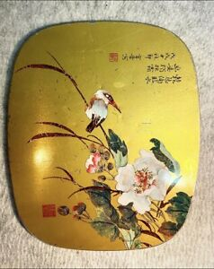 Unique-Oriental-Handpainted-Antique-Trivet-With-Hummingbird-amp-Gold-tin-amp-Cork
