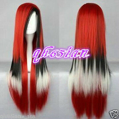 2017 Women red black white mix Cosplay party ladies Straight wigs / wig
