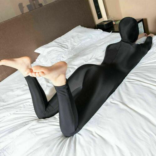 Women Shiny Glossy Bodysuit Zipper Open Crotch Full Body Unitard Zentai Jumpsuit